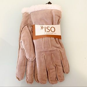 ISO by Isotoner Camel Tan Suede Sherpa Gloves